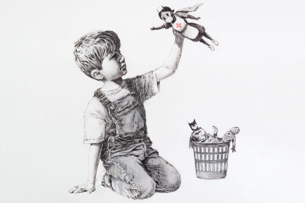 Obra de arte de Banksy: niño y muñec